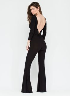 62451dfc158 Have Your Back Flared Jumpsuit BLACK - GoJane.com