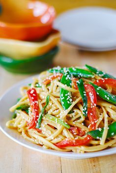 Cold Asian noodle salad recipe - 530 kcal/serving (5 servings) if using recipe as is, with a little less sesame oil and 5 c (cooked) pasta.