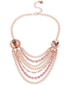 Betsey Johnson Rose Gold-Tone Woven Charm Multi-Chain Necklace