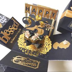 """A cute cheerful and sweet box card for birthday or wedding using  cardstock, pattern paper, pom pom, die cut, stamp, handmade flower etc.It measures 4 inches by 4 inches. It can be custom colors and theme.This listing consist :- black and gold theme - a cake in the center - 2 layers - 1 photo corner- 1 message Chat to offer me if you need any customisation of cards, tags, album :)Thank you for viewing my listing!To search for all my Boxcard design: keyword :""""mypapercraftingboxcard"""" Tags…"""