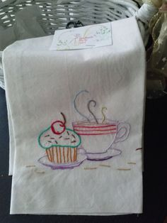Embroidery  cup cake tea towel or napkin by anasdesignshop on Etsy