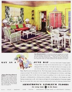 """""""Gay as a June Day!"""" We declared in this vintage Armstrong Flooring ad. Patio Furniture Redo, Furniture Ads, Vintage Furniture, 1960s Interior, Interior Design, Linoleum Flooring, Floors, Armstrong Flooring, Expandable Dining Table"""