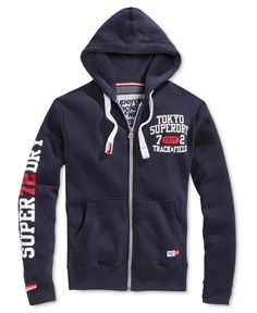 Stay warm and comfortable in cool-weather conditions with this Trackster hoodie from Superdry, featuring a classic full-zip closure and stylish graphic prints at the chest and right sleeve. Superdry Style, Superdry Mens, Stylish Hoodies, Unique Hoodies, Moda Men, Mens Jogger Pants, Plus Size Men, Hoodie Jacket, Hoody