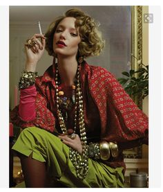 French fashion icon Lou Lou de la Falaise in a Haute Boho look from the 70's that could absolutely be worn today!