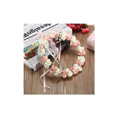 Flowers Floral Hairband Bride Branch Wedding Wreath Fairy Crown Head... ($7.59) ❤ liked on Polyvore featuring accessories, hair accessories, white, bridal crown, flower crown, white flower headband, bridal flower crown and flower crown headband