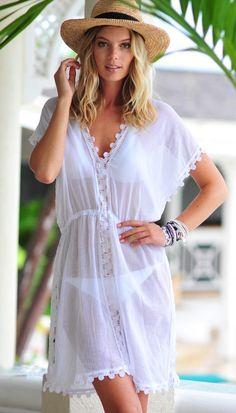 Seafolly Tidal Wave Field of Dreams Dress - White White Kaftan, White Dress, Beach Kaftan, Moda Chic, Beach Attire, Beachwear Fashion, Seafolly, Swimwear Brands, White Outfits