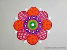 Beautiful and innovative multicolored rangoli design | Rangoli by Poonam Borkar - YouTube