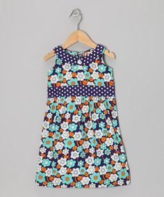 Take a look at this Pool Blue Sixties Floral Dress - Toddler & Girls by orange poppy kids on #zulily today!
