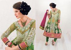 $106.86 Green Embroidery Net Anarkali Salwar Kameez 22684
