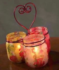 DIY table decorations- Baby Food Jar Voltive candle holders: wire together after they've been mod podged. Valentines Day Decorations, Valentines For Kids, Valentine Day Crafts, Holiday Crafts, Wedding Decorations, Table Decorations, Baby Food Jar Crafts, Mason Jar Crafts, Mason Jars