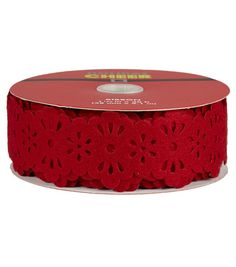 1.5in X 30ft Laser Felt Lace Red