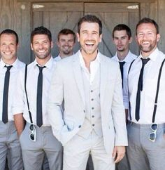 Groomsmen ... Get your own blue ties , no jackets, suspenders, grey dress pants, rolled up sleeves groom.... Blue tie, no jacket, grey vest, grey dress pants, rolled up sleeves