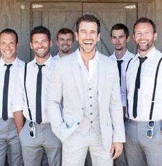 Groomsmen ... skinny ties, no jackets, suspenders. Let the groom shine in a light coloured suit.
