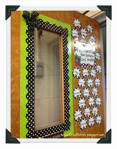Black and White plus Owl door decor. Tips: Double layer borders and add wired ribbon to the corner of the door to add a 3D effect.