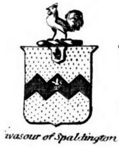 Achievement of arm's of Vavasour of Spaldington (baronet) from The Present Peerage of the United Kingdom (1864).
