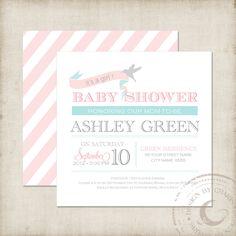 Printable Baby Shower Invitation Square Tiffany Pink by buljag