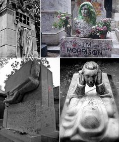 Garden of the last centuries thinkers - Paris' Pere Lachaise, France Fabulous statues also… but look a little creepier than the ones before. Most of them suggest not a simple sleep of this life, peaceful, but a new life after death in which everything is possible. Going beyond the limits of common: duplication, escape, heaviness, blindness, the unknown, fantasy. A place for artists – a lot of personalities like Moliere, Edith Piaf, Jim Morrison, Chopin, Oscar Wilde.