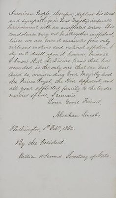 Antiques And Teacups: Royal Archives Letter From A Lincoln To Queen Victoria on the Death Of Prince Albert Queen Victoria Family, Victoria Reign, Queen Victoria Prince Albert, Victoria And Albert, Historical Women, Historical Pictures, British History, American History, Frases