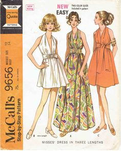 60s Easy Halter Dress in 3 Lengths Pattern McCalls by MiAbDryGoods
