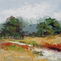 LANDSCAPE WITH FENCE, IMPRESSIONIST OIL PAINTING by Tom Brown, painting by artist Tom Brown