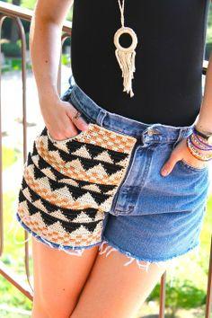 DIY crochet shorts panel