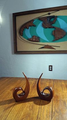 VIntage Mid Century TEAK BOOKENDS Danish Modern MCM Solid Wood 60's Quality Lux