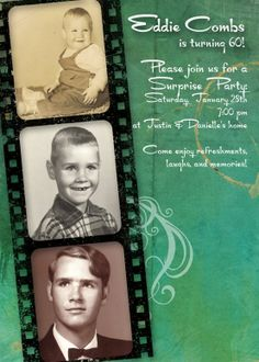 Masculine Birthday Party Invitation - great for showing off old photos 70th Birthday Parties, 50th Party, Special Birthday, Dad Birthday, Birthday Party Invitations, Birthday Memes, Birthday Ideas, Milestone Birthdays, Scrapbooking
