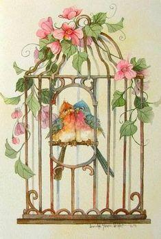 Carolyn Shores Wright Blue Bird Couple Cage Pink Flower - 987 x 1462 Vintage Birds, Vintage Postcards, Vintage Images, Funny Birds, Cute Birds, Paper Birds, Bird Art, Beautiful Birds, Blue Bird