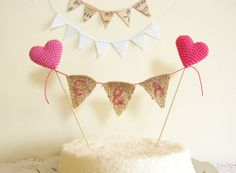 Personalized Wedding cake Topper with Burlap Bunting by cherrytime, $34.00