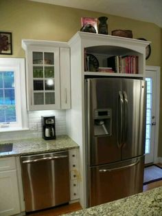 Cabinet above refrigerator ideas above fridge cabinet in elegant home decoration planner with within over remodel wine cooler cabinet ideas Kitchen Redo, Kitchen Remodel, Kitchen Cabinets, Kitchen Ideas, Open Cabinets, Kitchen White, White Cabinets, Kitchen Refrigerators, Kitchen Soffit