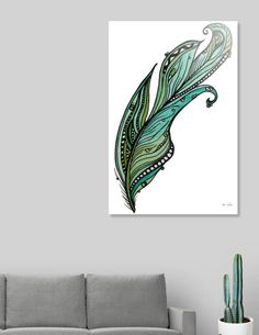 Discover «Green feather», Limited Edition Aluminum Print by Abi Latham - From $65 - Curioos
