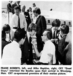 The Beatles were in an interview after their arrival in Winnipeg. Read more about the Beatles here at beatlesfansunite.com. Join for free and vote for your favorite Beatles.