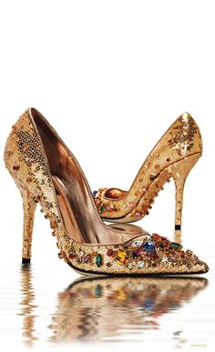 ~~Gold sequined and jeweled pumps ~  Dolce & Gabbana~~