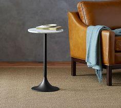 Brigid Marble Top Pedestal Side Table
