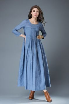 Blue Linen Dress Spring Blue Dress Maxi Dress C811 by YL1dress on Etsy https://www.etsy.com/dk-en/listing/270610639/blue-linen-dress-spring-blue-dress-maxi