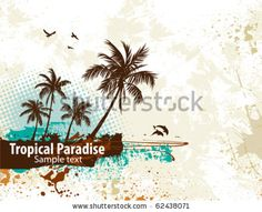 stock vector : Palm trees on a grunge background