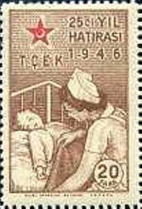 Turkiye stamp 1946, Covering Infant by a Nurse (Children's Aid Association, 25 Years)