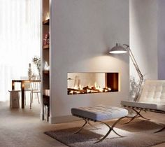 Open Plan Living: Modern Fireplaces with spaces on the side
