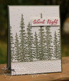 Stampin Up Wonderland, Silent Night, Christmas Card, Tree