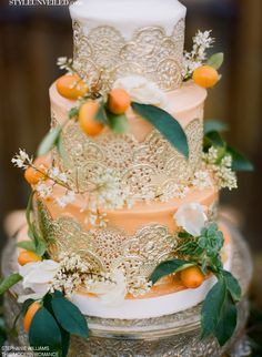 Gold + Peach Wedding Cake by Michele Coulon Dessertier   This Modern Romance