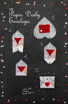 DIY paper doily envelope valentines day