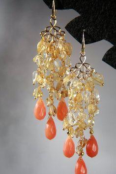 Orecchini - Lungo Citrino Orecchini, Oro Orecchini Chandelier - un prodotto unico di TatPetrenkoff su DaWanda