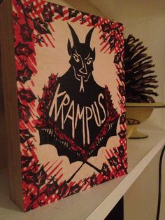 Krampus Original Art on Wooden Panel Unusual Holiday Decor by craftyhag on Etsy