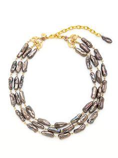 I want this. So badly. David Aubrey  Multi Strand Grey Pearl Bib Necklace  $98 Gilt