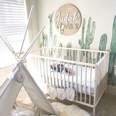 #cactus nursery inspiration, #nursery inspo, #handmade cactus wood sign for kids Rooms, #baby boy nursery, #genderneutral nursery ideas // #modwoodco