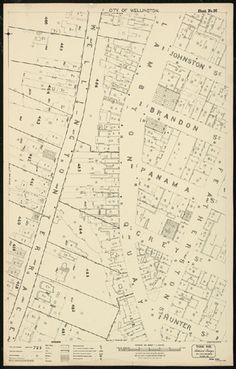 Historic map of the Lambton Quay area, Wellington, New Zealand created by Thomas Ward Surveyors in 1891.