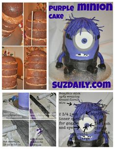 Tutorial on how to make a purple minion cake!  Very easy to follow directions.  Very fun idea for a despicable me - minion party!
