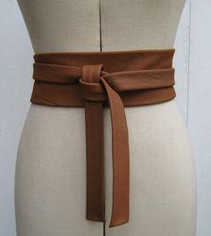 Saddle tan leather knot wrap belt van elizabethkelly op Etsy