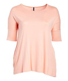 Loving this Peach Pocket Three-Quarter Sleeve Tee - Plus on #zulily! #zulilyfinds