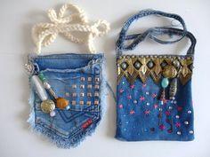 """Voorbeeld gemaakt voor de workshop """"recycle een jeans tot tasje"""" Handmade example for workshops """"upcycle a jeans into a purse"""" by Knutselkantine.nl"""